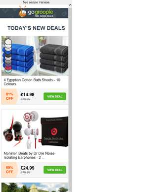 4 Egyptian Cotton Bath Sheets £14.99 | Teepee Tent for 6 People £89.99 | Beats by Dre Earphones £24.