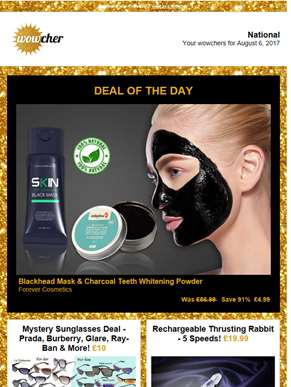 Blackhead Mask & Teeth Whitener £4.99 |  | Mystery Sunglasses Deal £10 | Rabbit Vibe £19.99 | Underb