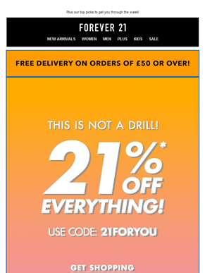 Today only! 21% off your order!