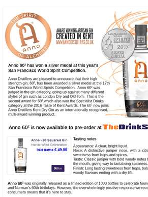Introducing Anno 60 Squared Gin - A San Francisco World Spirits Competition Award Winner!