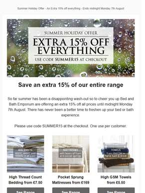 Last 24 hours - An extra 15% off everything at Bed and Bath Emporium