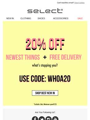 How lucky! 20% off your dream look + free delivery!