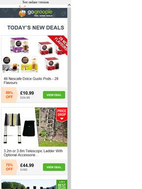 48 Dolce Gusto Coffee Pods £10.99 | 12 Bottles Castillo Red Wine £39.99 | Abs & Body Muscle Toners £