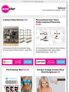 2 Galwix Steel Shelves £36 | Harry Potter-Inspired Pillowcase £3.99 | 'Fat Freezing' Belt £24.99 | R