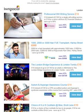Deals for you: Will Writing £14 | Harley Street FUE Hair Transplant £899 | London Bridge Experience