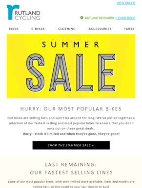 Summer Sale – HURRY; most popular bikes!