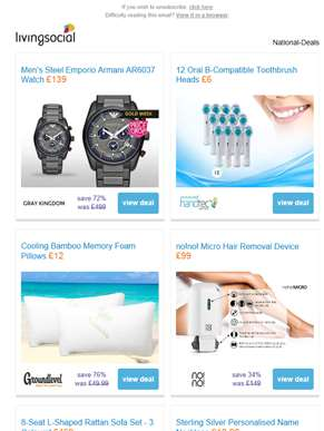 Deals for you: Emporio Armani Watch £139 | 12 Oral B Toothbrush Heads £6 | Cooling Bamboo Memory Foa