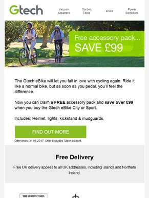 Free Accessory Pack Worth Over £99 With Every eBike!