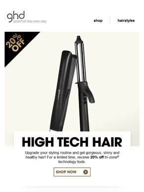 20% off high tech hair | ghd