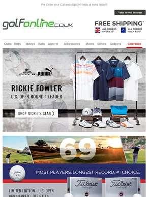 Shop Rickie Fowler's U.S. Open gear plus incredible new stock....