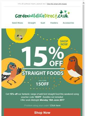 Get 15% off straight foods this weekend