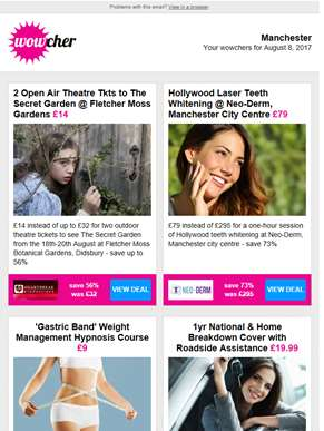 Secret Garden Open Air Theatre Tkts £14 | Laser Teeth Whitening £79 | Weight Management Hypnosis £9