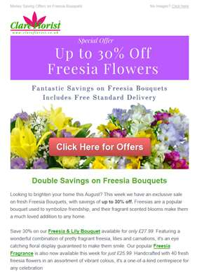 Freesia Bouquet SALE: Get up to 30% off Freesia Flowers this Week