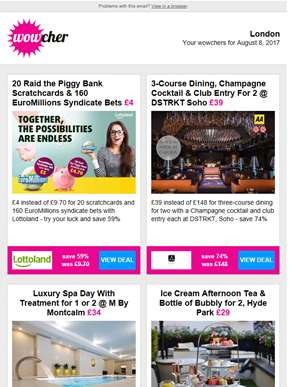 20 Scratchcards & 160 EuroMillions Bets £4 | DSTRKT Dining, Cocktail & Club Entry £39   | M By Montc