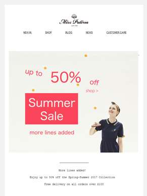 New line added| Summer Sale up to 50%