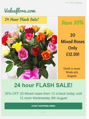 35% OFF 20 Mixed Roses - 24 Hour FLASH SALE!