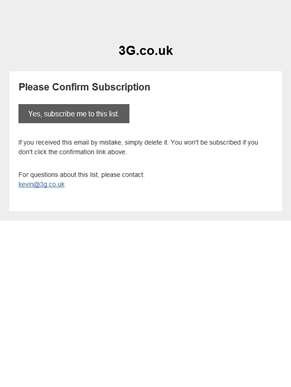 3G.co.uk: Please Confirm Subscription