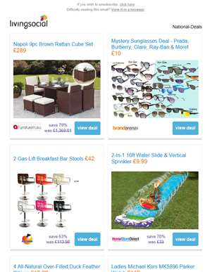 Deals for you: 9pc Rattan Furniture Set £289 | Mystery Sunglasses Deal £10 | 2 Gas Lift Bar Stools £