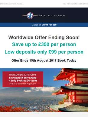 Worldwide Early Booking Offer Ending Soon!