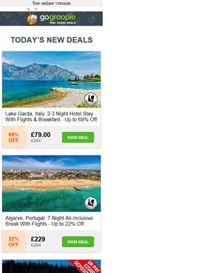 Visit Lake Garda, Italy & Save 69% | 7 Night All Inclusive Algarve £229 inc Flights | Magical Glass