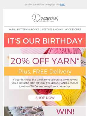 20% Off Yarn & FREE Delivery + WIN £50 To Spend At Deramores
