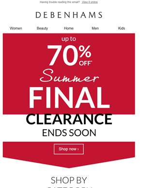 Don't miss out on up to 70% off