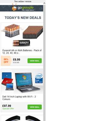 60 Duracell Batteries from £6.99 | Dell D620 Laptop £97.99 | LED Levitating Globe £14.99