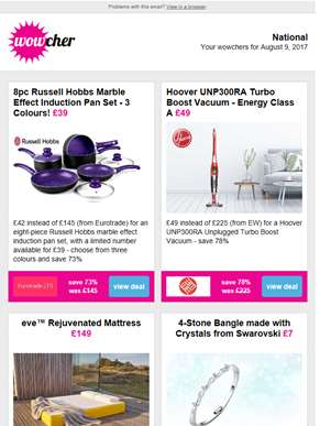 8pc Russell Hobbs Pan Set £39 | Hoover Cordless Turbo Vacuum £49 | Eve Mattress £149 | 4-Stone Bangl