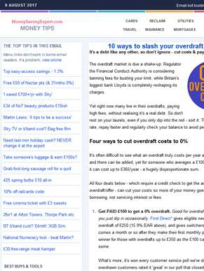 0% overdraft, cheap euros, NEW top savings, Martin's 4 tips for success, No7 deal, Sky FREE film, fr