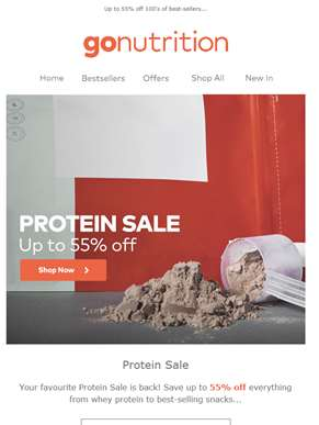 Shake it up! Up to 55% off Protein Sale is back...
