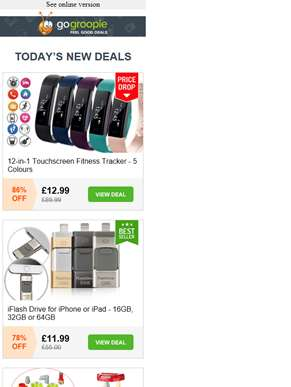 12 in 1 Smart Fitness Tracker £12.99 | Leather King Size Bed £59 | 400 Bin Bags from £7.99