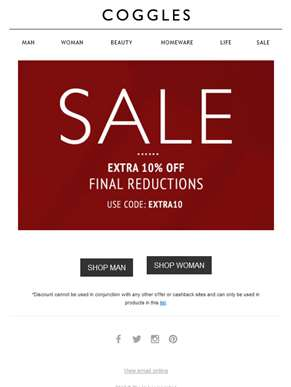 Final reductions just got better with an extra 10% off SALE