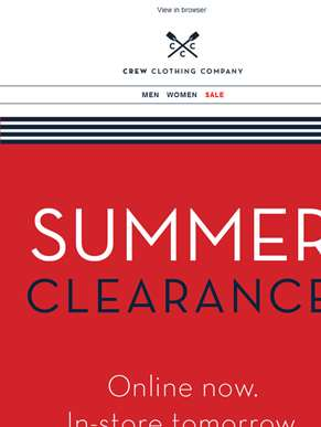 Summer clearance. Starts now.