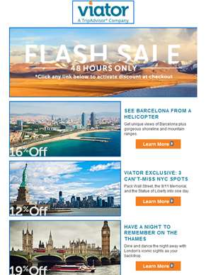 48 Hours Only! Barcelona Helicopter Tour, London Dinner Cruise + More