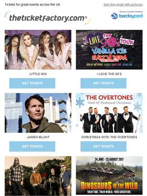Little Mix, I Love The 90's, James Blunt, Christmas with the Overtones & much more…