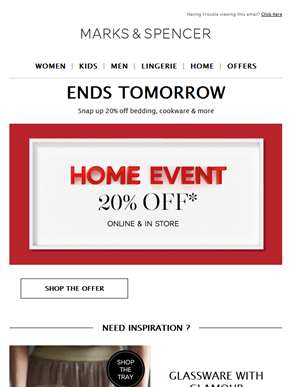 Ends tomorrow! Get 20% off homeware