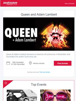 Queen and Adam Lambert | The Killers | Lady Gaga | John Legend | Nick Cave and The Bad Seeds | Micky