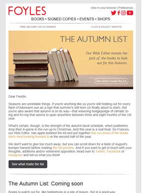 The Autumn List: Take a look at the season ahead | 25% off our Manager's Specials