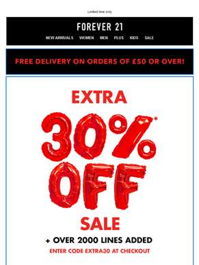 Extra 30% off sale + Over 2000 lines added!
