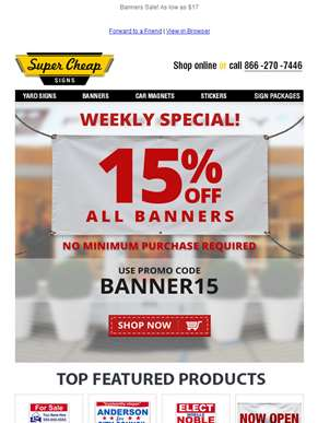 Special  Offer! 15% Off All Banners