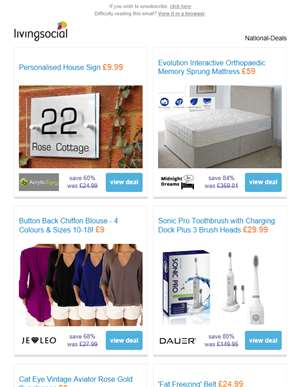 Deals for you: Personalised House Sign £9.99 | Orthopaedic Mattress £59 | Chiffon Blouse £9 | Electr