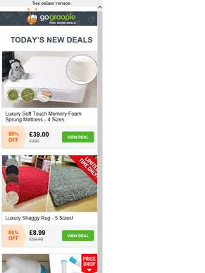 Luxury Soft Touch Memory Foam Mattress £39 | Shaggy Rug £8.99 | 3 in 1 Hurricane Spin Mop £24.99