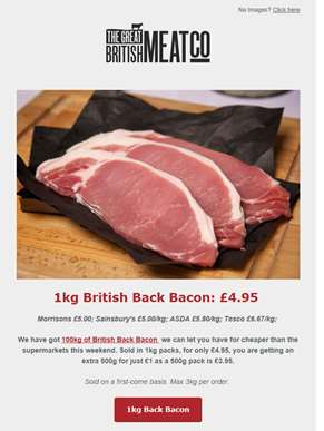 Get 500g bacon for just £1 tonight | 500g just £3.95 or 1kg just £4.95 | 100kg available