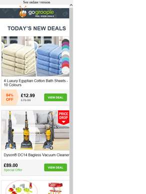Large Luxury Cotton Bath Towels £12.99 | Dyson Bagless Cyclone Vacuum Cleaner £89 | 29pc Kitchen Pla