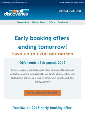 Hurry! Early Booking Offers Ending Tomorrow!