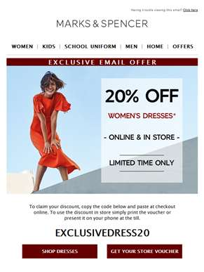 EXCLUSIVE: 20% off dresses