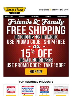 Special Savings - Family & Friends Promo