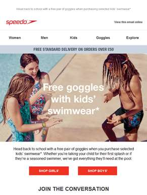 Free Goggles with Selected Kids' Swimwear*