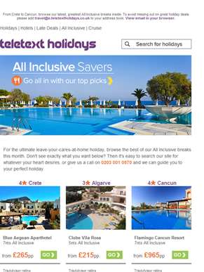 ???? All Inclusive Monday! Beach bargains from £155pp