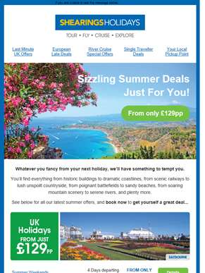 Sizzling Summer deals from just £129pp!